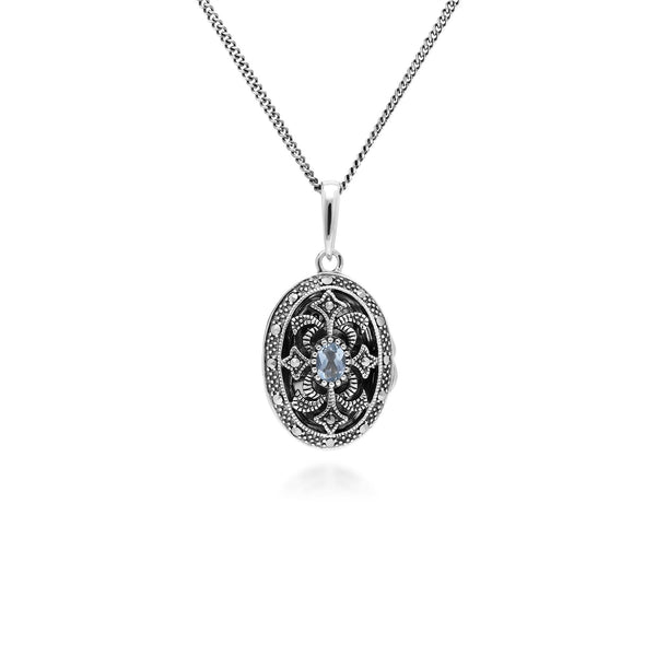 Art Nouveau Style Oval Topaz & Marcasite Locket Necklace in 925 Sterling Silver