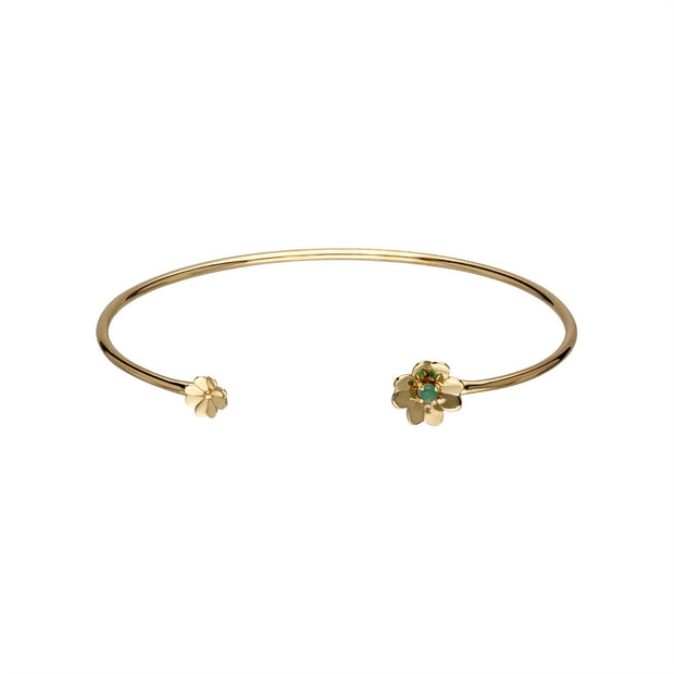 Gardenia Emerald Clover Bangle In 9ct Yellow Gold
