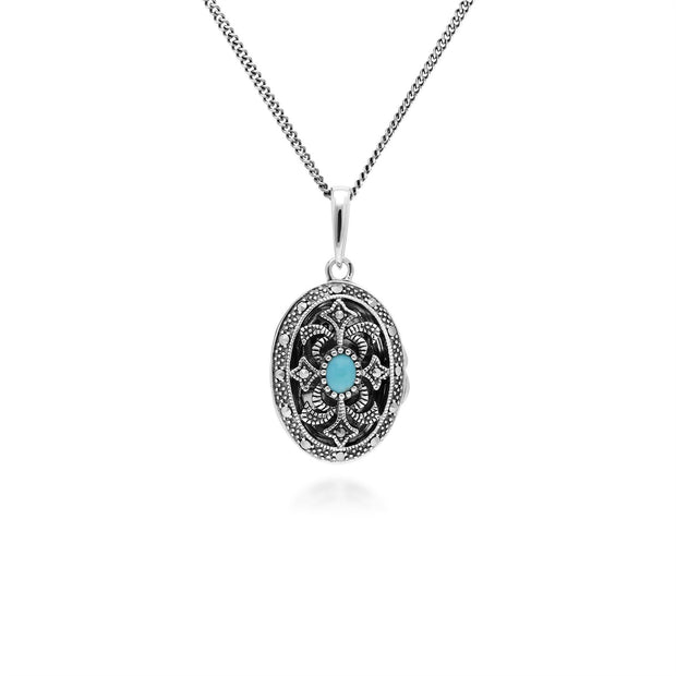 Art Nouveau Style Oval Turquoise & Marcasite Locket Necklace in 925 Sterling Silver