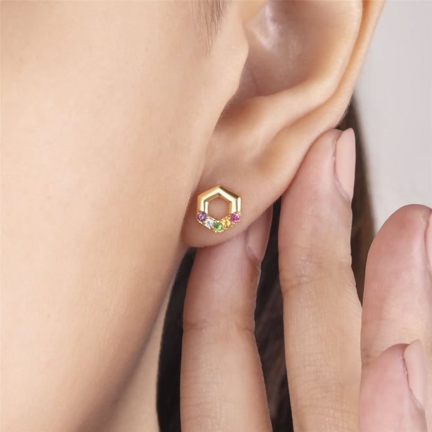 Rainbow Hexagon Stud Earrings in Gold Plated Sterling Silver on model