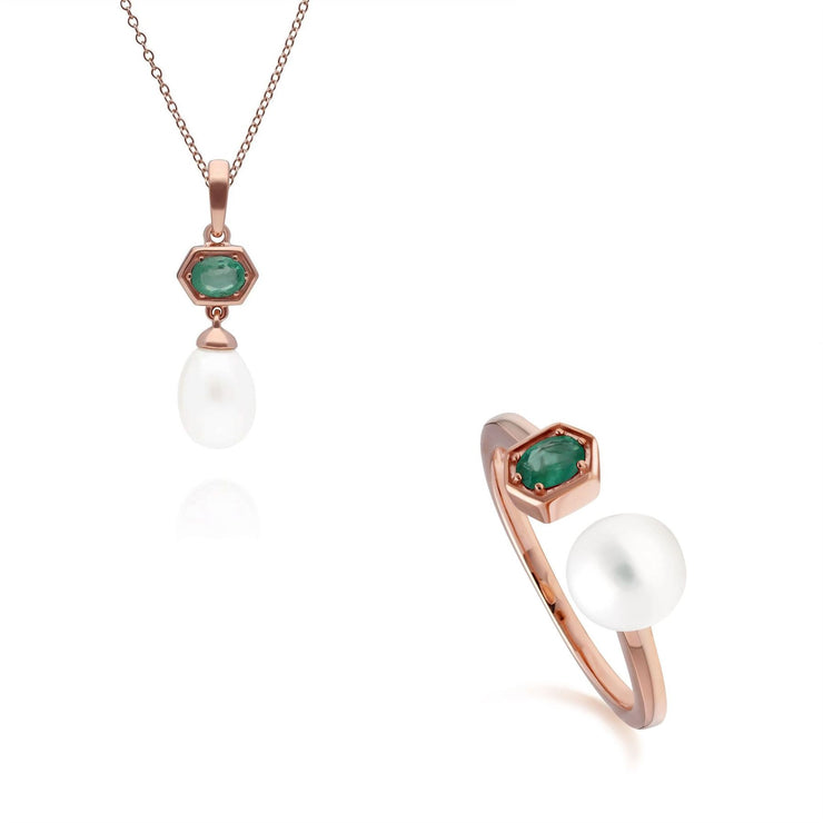 Modern Pearl & Emerald Pendant & Ring Set in Rose Gold Plated Sterling Silver