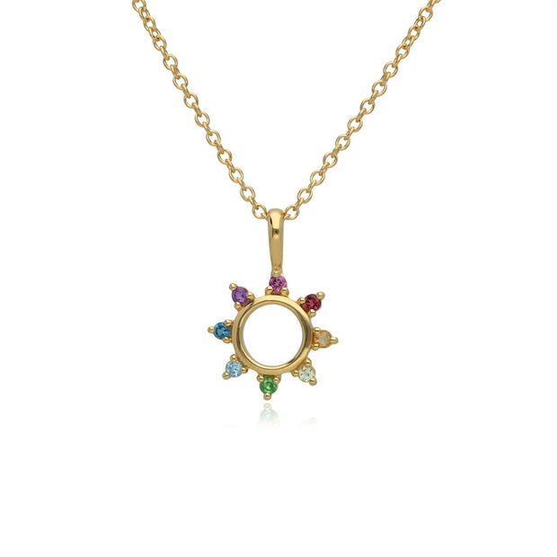 Rainbow Sunburst Necklace in Gold Plated Sterling Silver