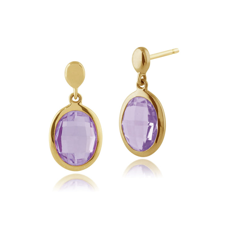 Gemondo 9ct Yellow Gold 2.22ct Purple Amethyst Drop Earrings