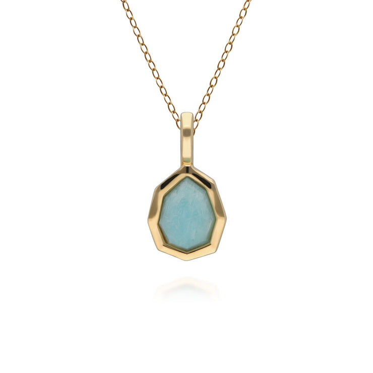 Irregular B Gem Blue Peru Amazonite Pendant Necklace