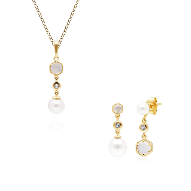 Modern Pearl, Topaz & Moonstone Pendant & Earring Set in Gold Plated Sterling Silver