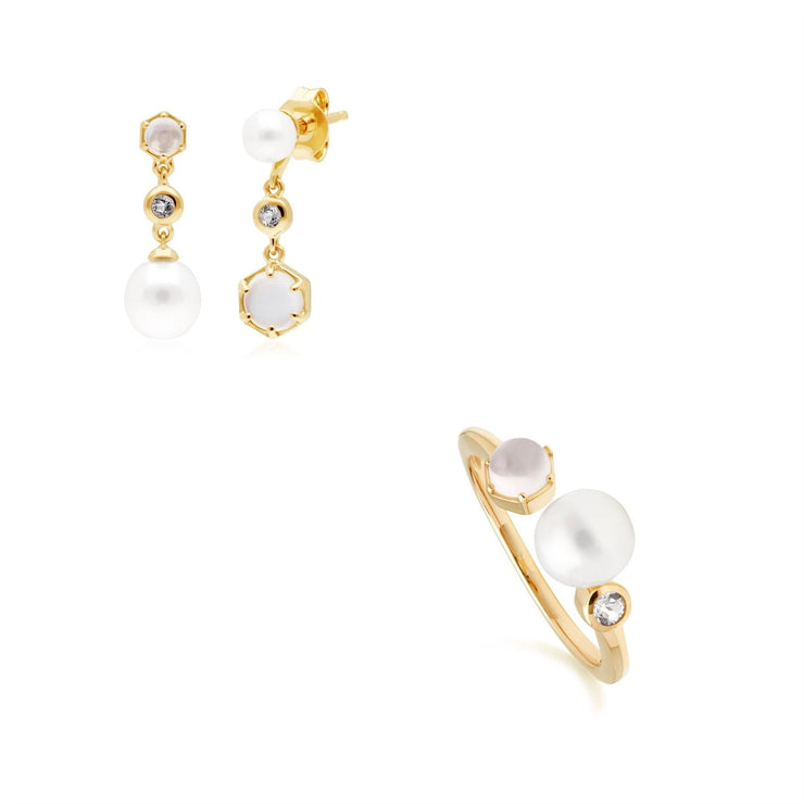 Modern Pearl, Topaz & Moonstone Earring & Ring Set in Gold Plated Sterling Silver