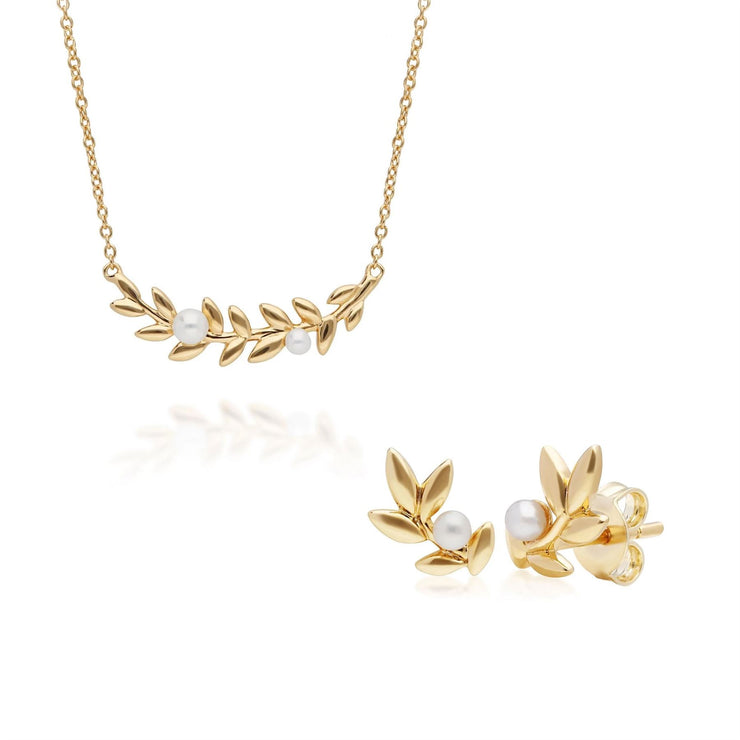 O Leaf Pearl Necklace & Stud Earring Set in Gold Plated 925 Sterling Silver