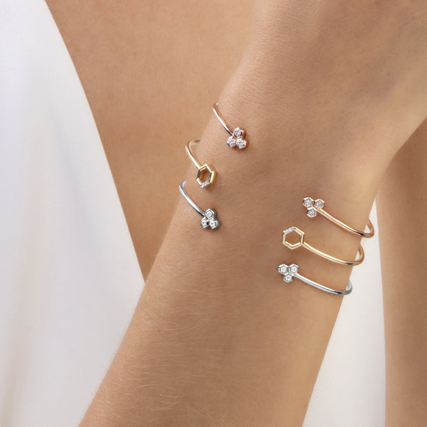 Diamond Trilogy Geometric Open Bangle in 9ct Rose Gold