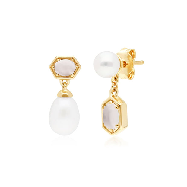 Modern Pearl & Moonstone Mismatched Drop Earrings in Gold Plated 925 Sterling Silver