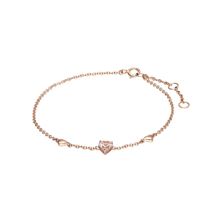 Pink Morganite Love Heart Bracelet in 9ct Rose Gold