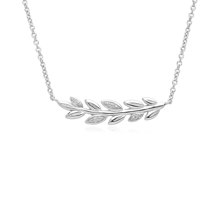 O Leaf Diamond Necklace & Stud Earring Set in 9ct White Gold