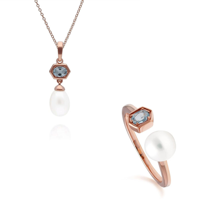 Modern Pearl & Blue Topaz Pendant & Ring Set in Rose Gold Plated Sterling Silver