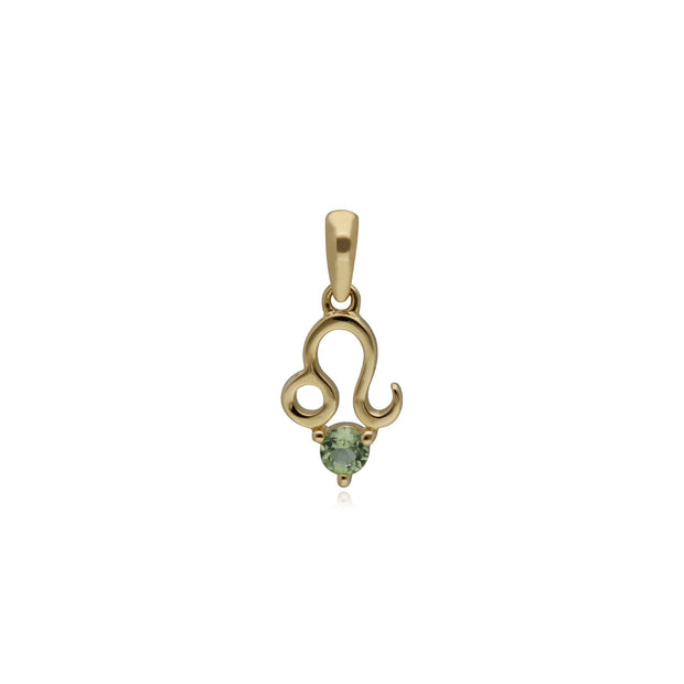 Peridot Leo Zodiac Charm in 9ct Yellow Gold