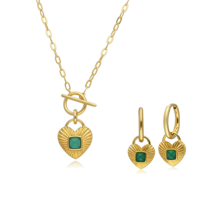 Queen of Hearts Chalcedony Necklace & Hoop Earrings Set