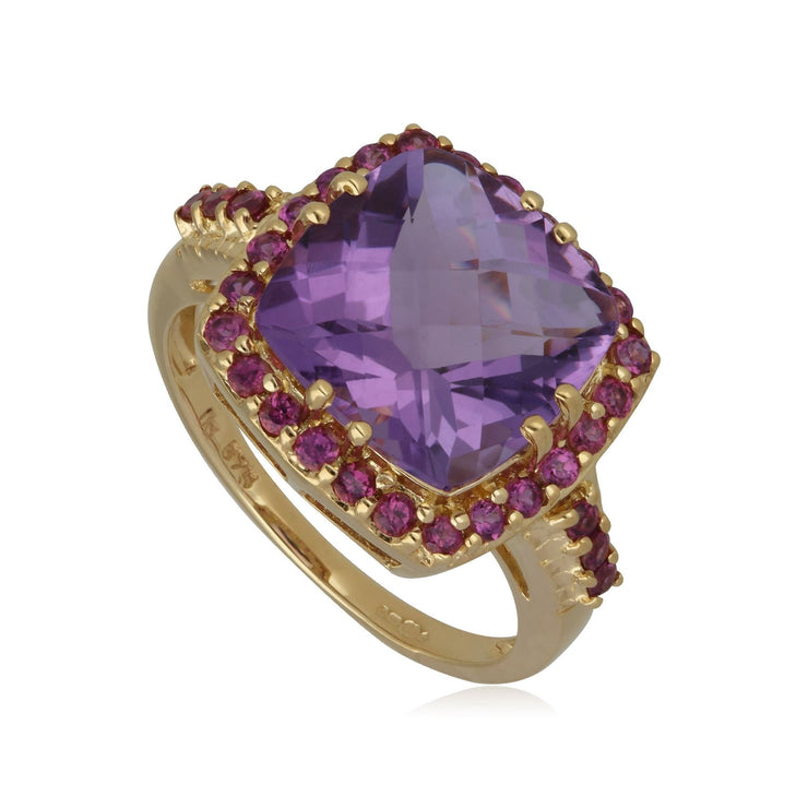 Kosmos Amethyst & Rhodolite Cocktail Ring in 9ct Yellow Gold
