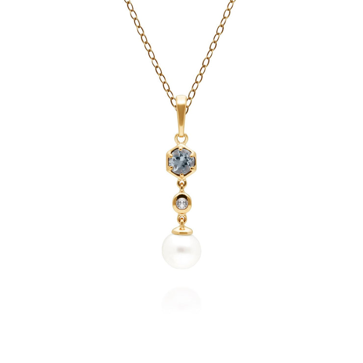 Modern Pearl, Aquamarine & Topaz Drop Pendant in Gold Plated Sterling Silver