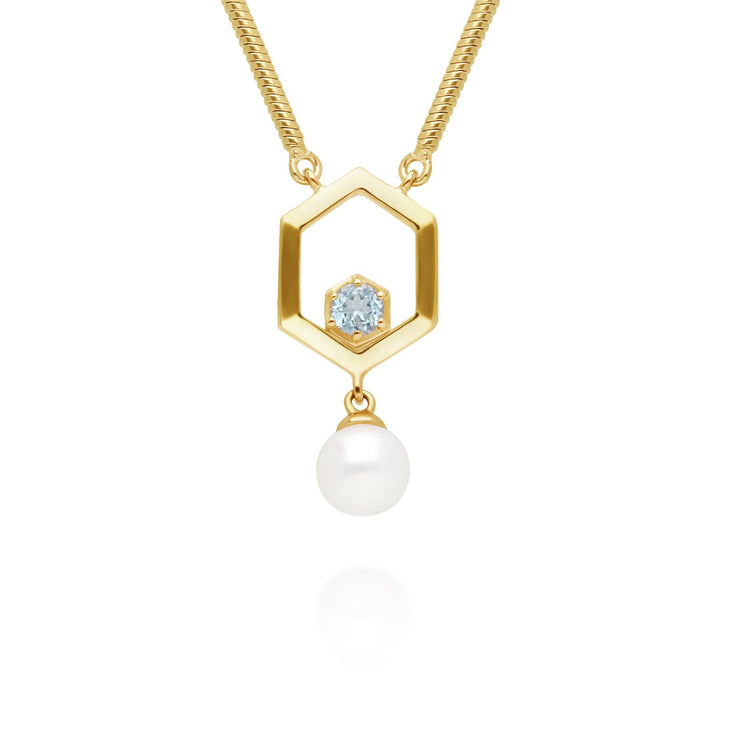 Modern Pearl & Topaz Hexagon Drop Necklace in Gold Plated Sterling Silver