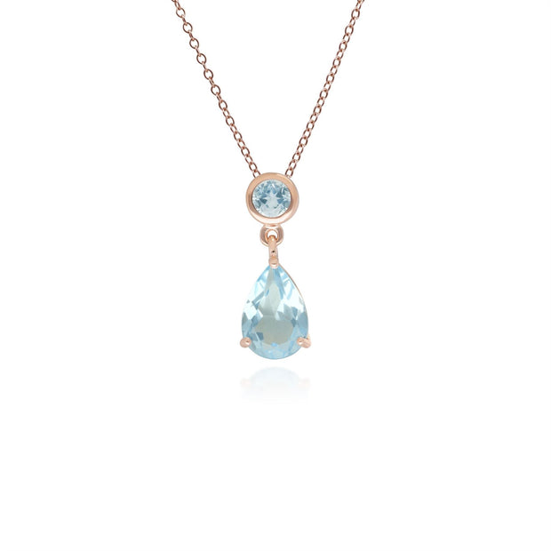 Classic Pear Blue Topaz Drop Pendant in 9ct Rose Gold
