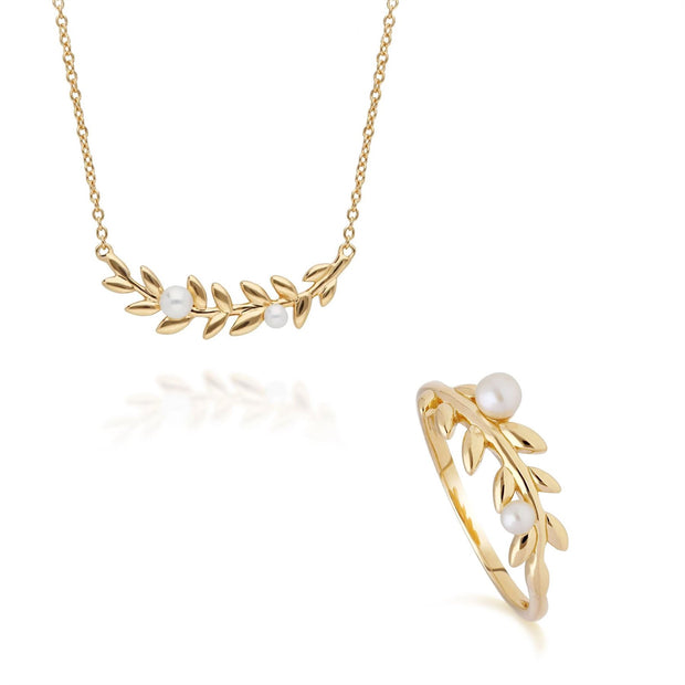 O Leaf Pearl Necklace & Ring Set in Gold Plated 925 Sterling Silver