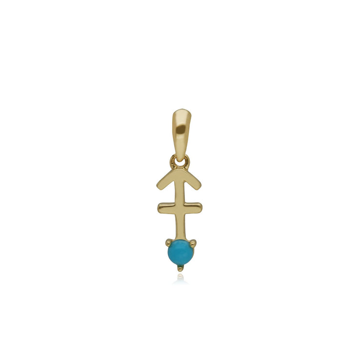 Turquoise Sagittarius Zodiac Charm in 9ct Yellow Gold