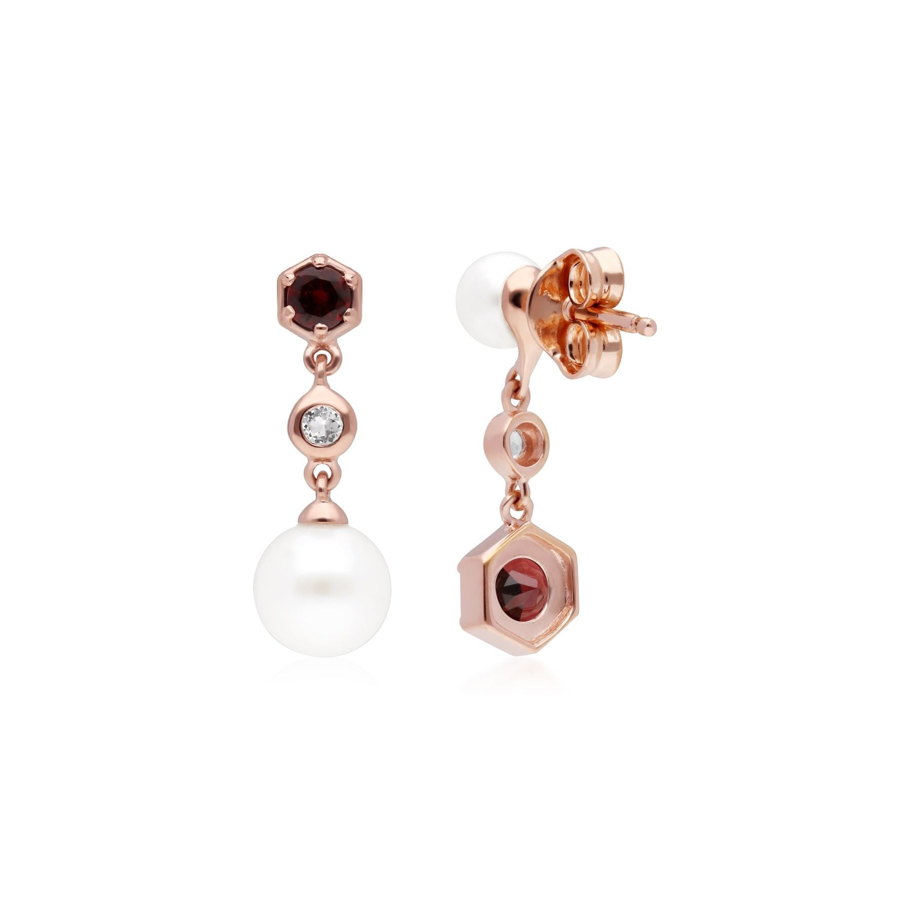 White Pearl /& Ruby Mismatched Drop Earrings in Rose Gold Plated Sterling Silver