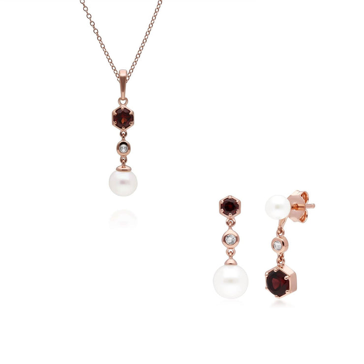 Modern Pearl, Garnet & Topaz Pendant & Earring Set in Rose Gold Plated Sterling Silver