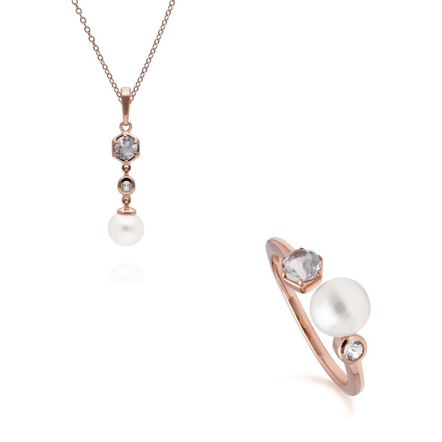 Modern Pearl & White Topaz Pendant & Ring Set in Rose Gold Plated Sterling Silver