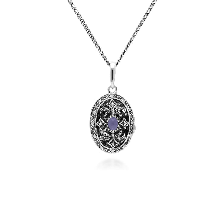 Art Nouveau Style Oval Dyed Purple Jade & Marcasite Locket Necklace in 925 Sterling Silver