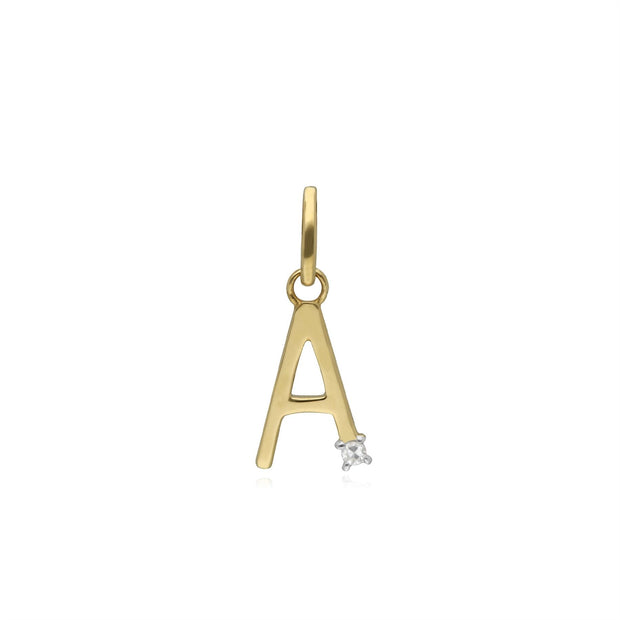 Initial A Diamond Letter Necklace in 9ct Yellow Gold