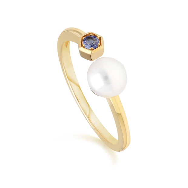 Modern Pearl & Tanzanite Open Ring in 9ct Yellow Gold
