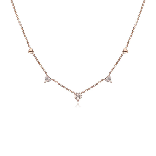 Gemondo Pink Morganite Gemstone Love Heart Necklace in 9ct Rose Gold