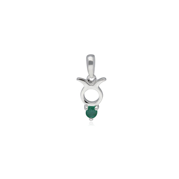 Emerald Taurus Zodiac Charm in 9ct White Gold