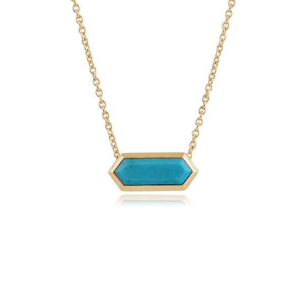 Geometric Hexagon Turquoise Prism Bar Necklace in Gold Plated 925 Sterling Silver