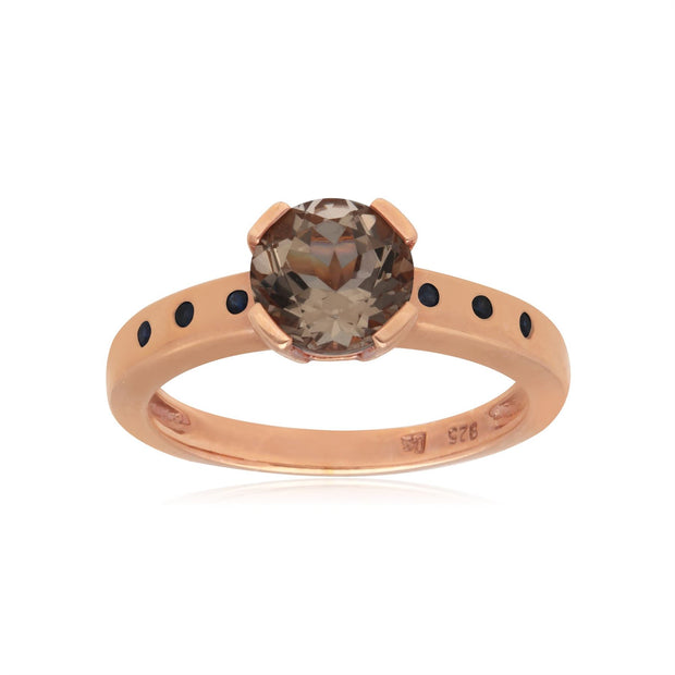 Kosmos Morganite Cocktail Ring in Rose Gold Plated Sterling Silver