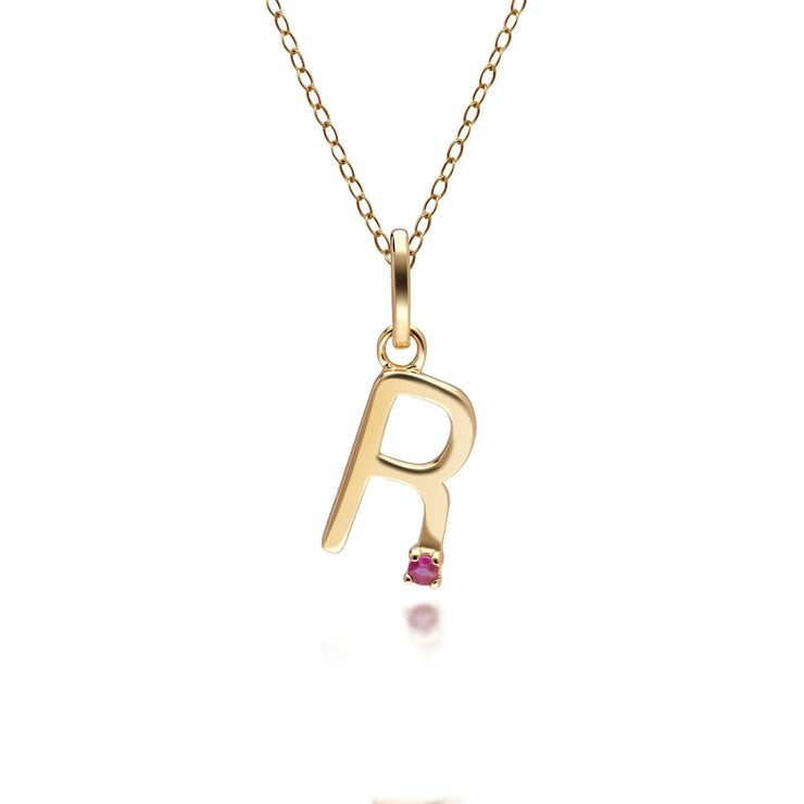 Initial R Ruby Letter Charm Necklace in 9ct Yellow Gold