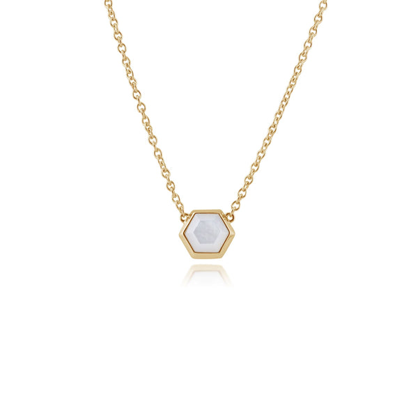 Geometric Hexagon Mother of Pearl Necklace in Gold Plated 925 Sterling Silver