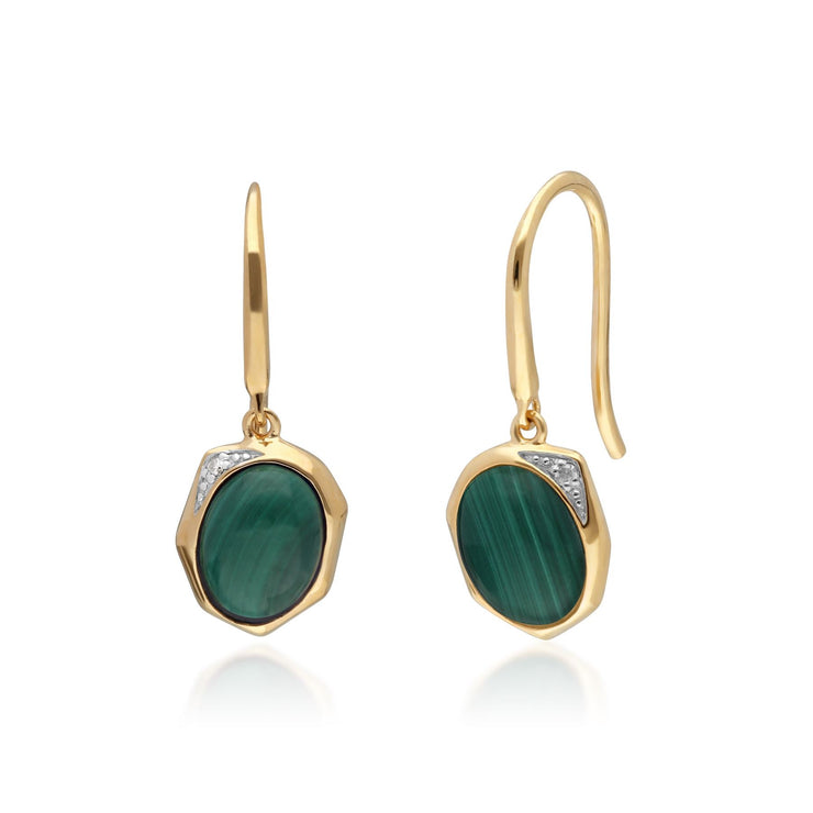 Irregular B Gem Malachite & Diamond Drop Earrings in Gold Plated Sterling Silver