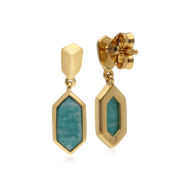 Micro Statement Amazonite Drop Earrings in Gold Plated 925 Sterling Silver