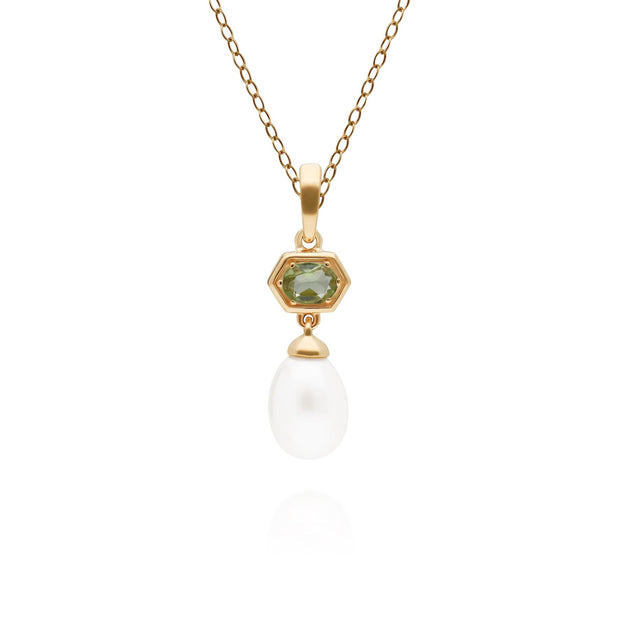 Modern Pearl & Peridot Hexagon Drop Pendant in Gold Plated Sterling Silver