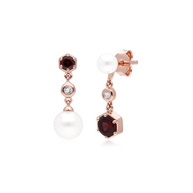 Modern Pearl, Garnet & Topaz Mismatched Drop Earrings in Rose Gold Plated Sterling Silver
