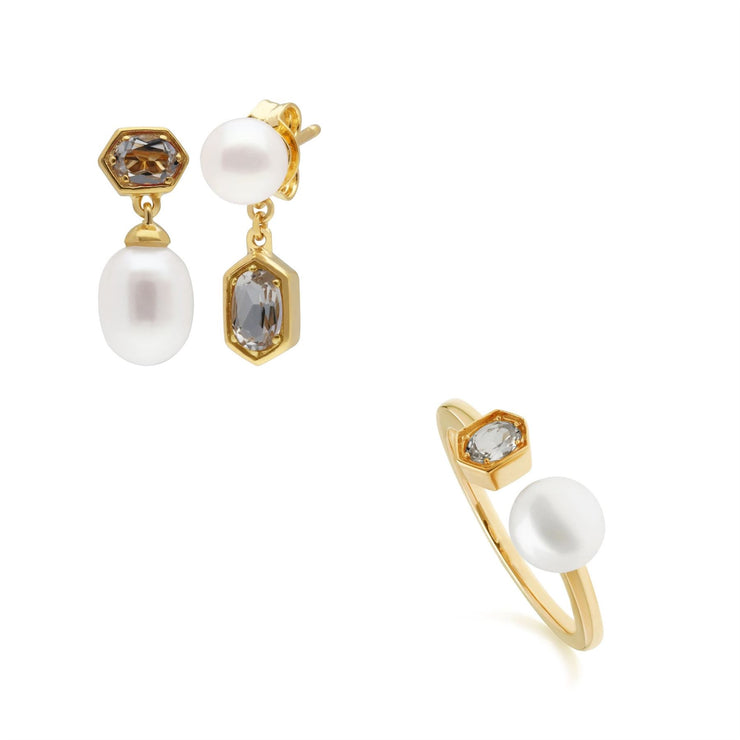 Modern Pearl & Topaz Earring & Ring Set in Gold Plated Sterling Silver