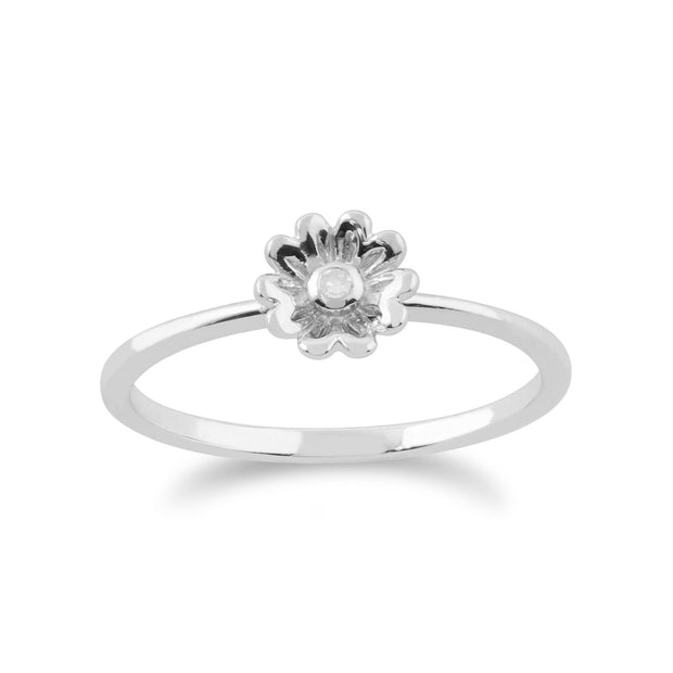 Gemondo 9ct White Gold 0.01ct Diamond Stackable Floral Ring