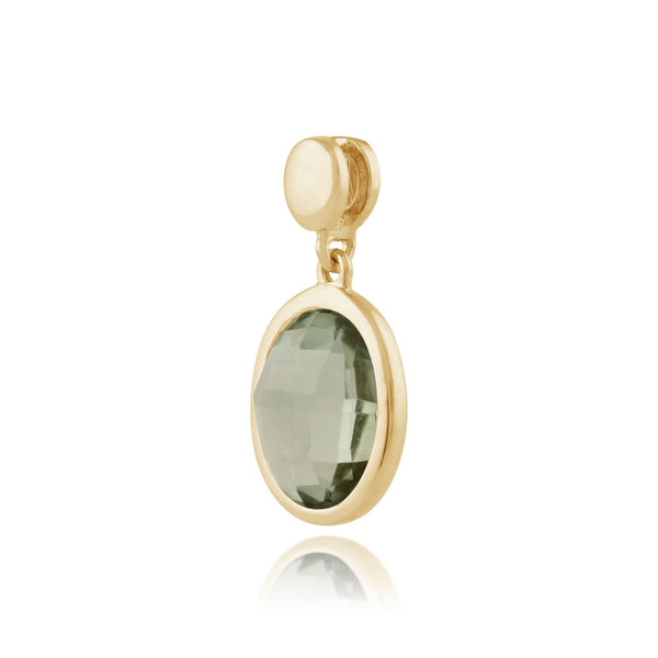 Mint Green Quartz 9ct Yellow Gold Oval Drop Pendant on Chain