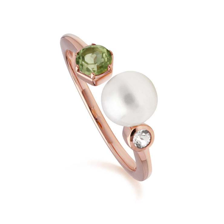 Modern Pearl, Peridot & Topaz Open Ring in Rose Gold Plated Sterling Silver