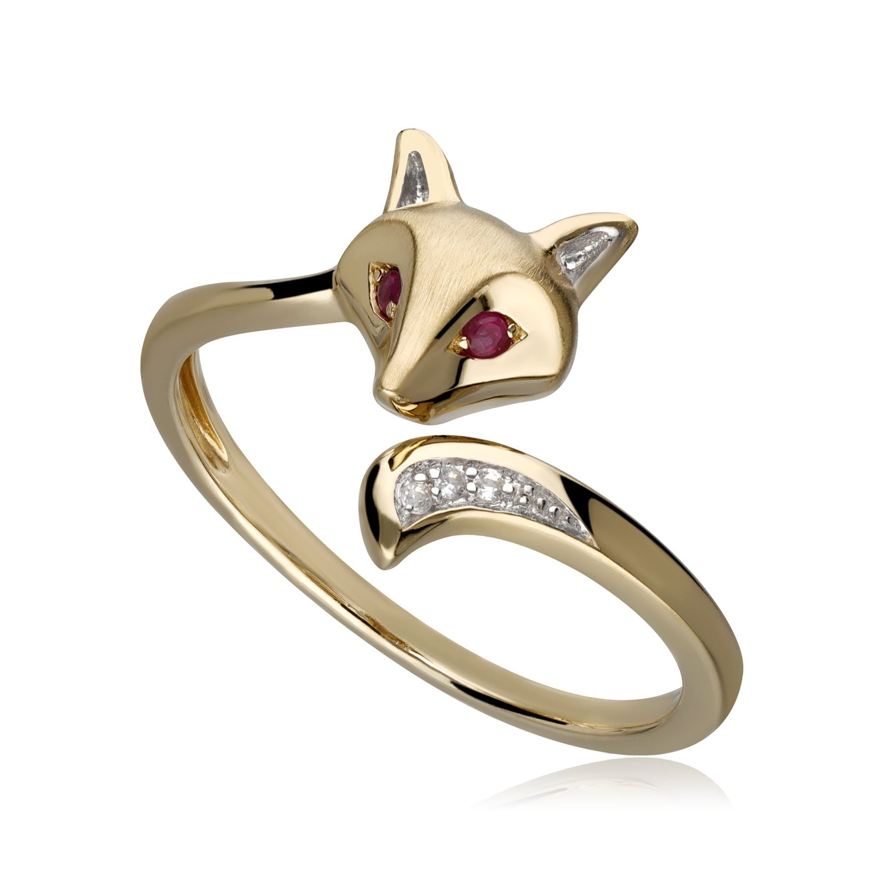 Gardenia Ruby & White Sapphire Fox Ring in 9ct Gold Deal Price £ 190.00