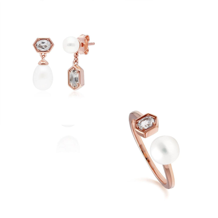 Modern Pearl & Tanzanite Earring & Ring Set in Rose Gold Plated Sterling Silver