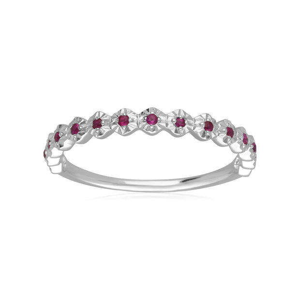 9ct White Gold 0.090ct Ruby Band Ring
