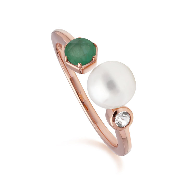 Modern Pearl, Emerald & Topaz Open Ring in Rose Gold Plated Sterling Silver