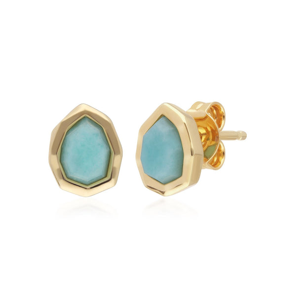Irregular B Gem Blue Peru Amazonite Stud Earrings