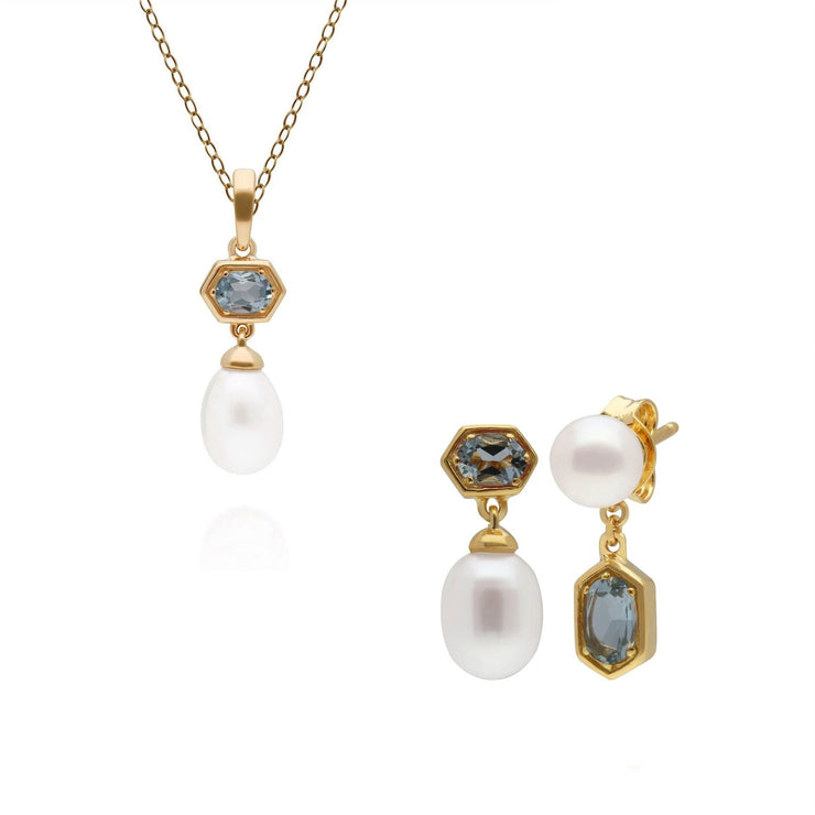 Modern Pearl & Aquamarine Pendant & Earring Set in Gold Plated Sterling Silver